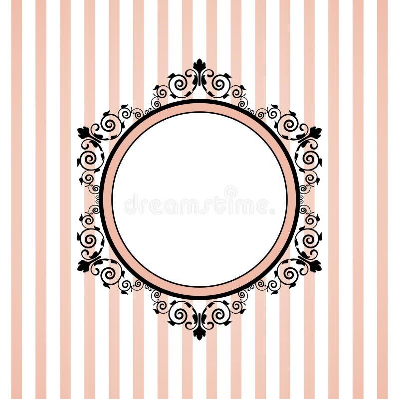 Rosa färger gjorde randig ramen stock illustrationer