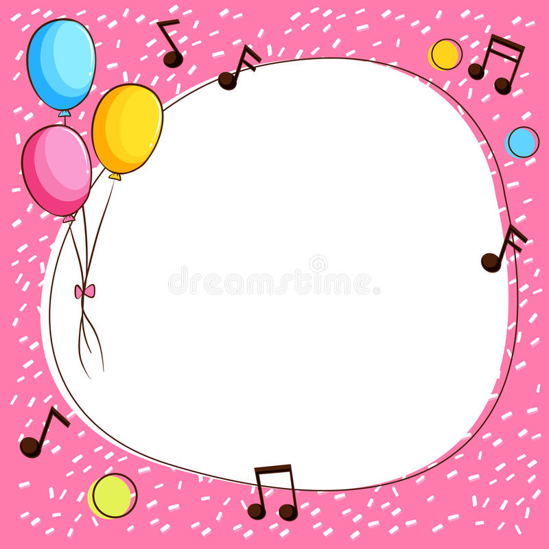 Rosa färger gränsar mallen med ballonger och musikanmärkningar stock illustrationer