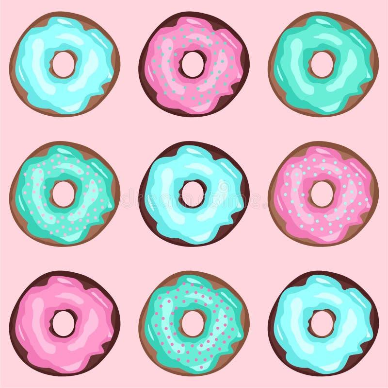 Rosa färger gräsplan, blå donutsillustrationvektor arkivfoto
