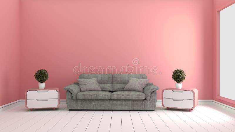 Rosa färger hyr rum - härligt rum, tomt rum, modern ljus inre framf?rande 3d stock illustrationer