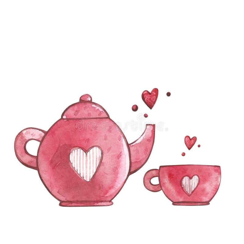 Rosa färger kuper och tekannan med hjärta Vattenfärguppsättning av beståndsdelar för dag för valentin` s Denna är mappen av forma vektor illustrationer