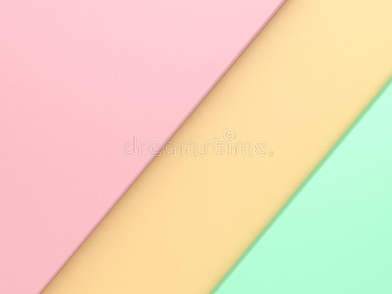 Rosa färger lämnade hörnet gul grön rätt som pastellfärgad geometrisk form vippade på minsta abstrakt bakgrund 3d för att framför arkivfoton