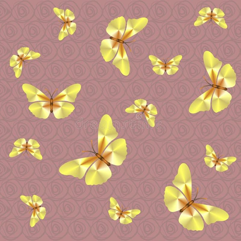 Rosa färger mönstrar med fjärilar stock illustrationer