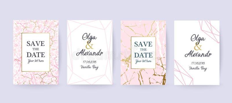 Rosa färger marmorerar och guld- texturbakgrund, kort vektor illustrationer