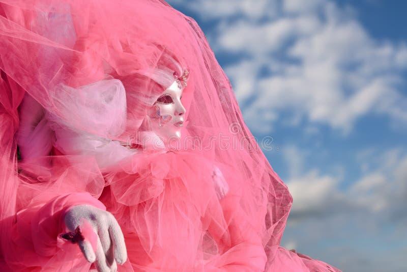 Rosa färger maskerar och kostymerar på Venetian stock illustrationer