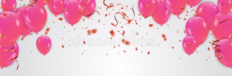 Rosa färger med konfettiheliumballongen som isoleras i luften för födelsedag årsdag, beröm, händelsedesign också vektor för corel royaltyfri illustrationer