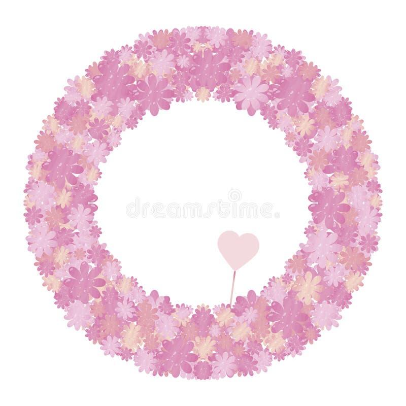 Rosa färger och den lila frodiga tjocka vektorkransen som göras från beståndsdelar av blommor och hjärtor med enformad minnestavl vektor illustrationer