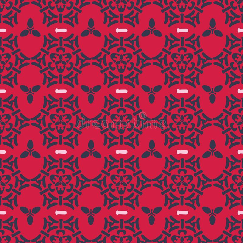 Rosa färger och Gray Trendy Ornamental Damask Seamless stock illustrationer