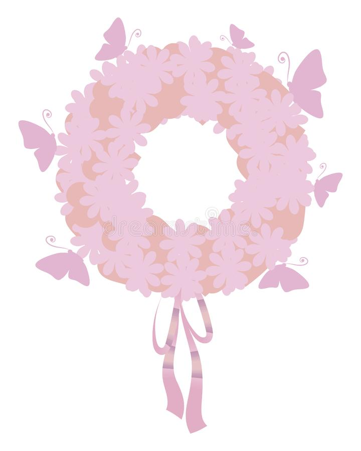 Rosa färger och lila frodig ljus vektorkrans för pastellfärgad färg från beståndsdelar av blommor och hjärtor med pilbågen av ban royaltyfri illustrationer