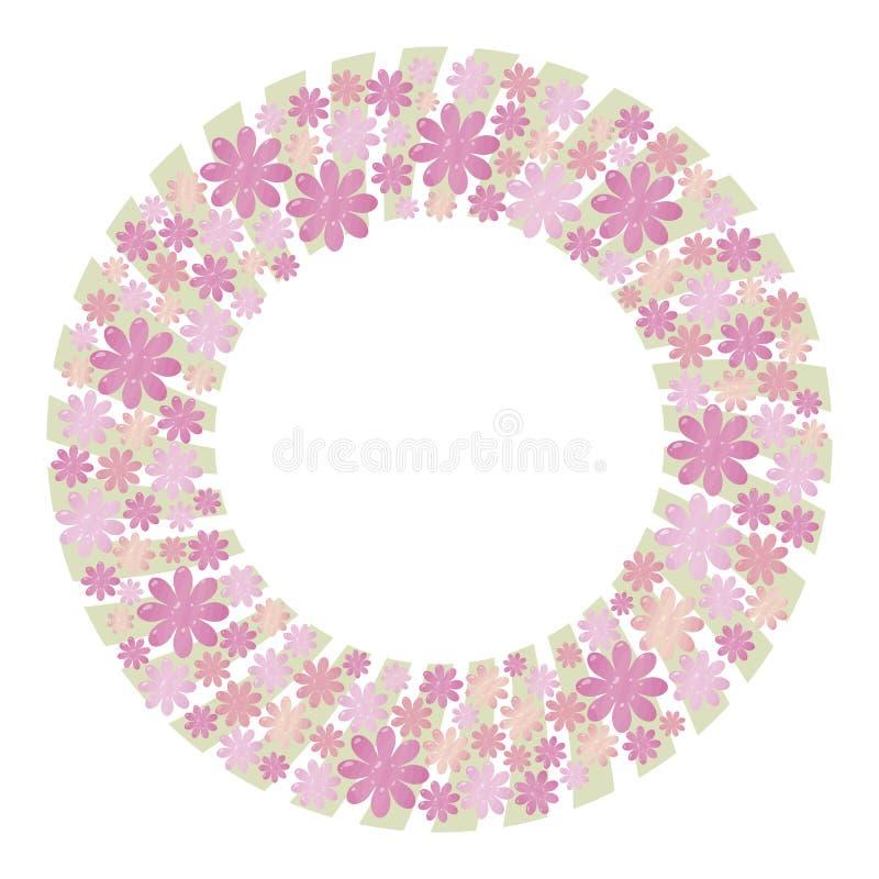 Rosa färger och lila frodig vektorkrans som göras från beståndsdelar av blommor och hjärtor med ljus - gröna remsor för pastellfä royaltyfri illustrationer