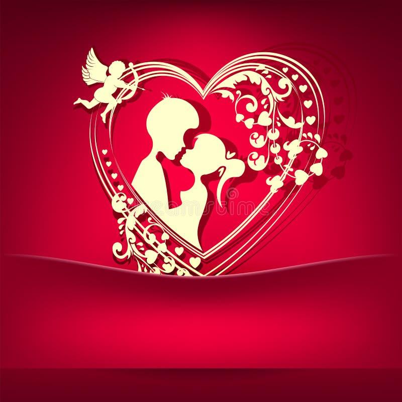 Rosa färger planlägger med en kontur av hjärtan och ett älska par stock illustrationer