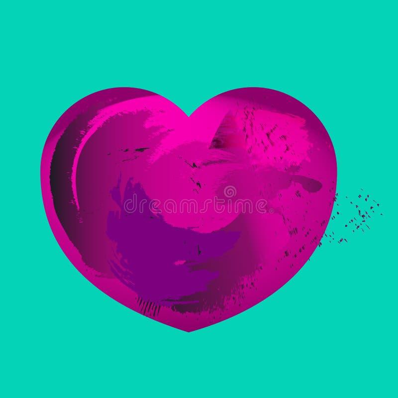 Rosa färger plaskar isolerad hjärta royaltyfri illustrationer