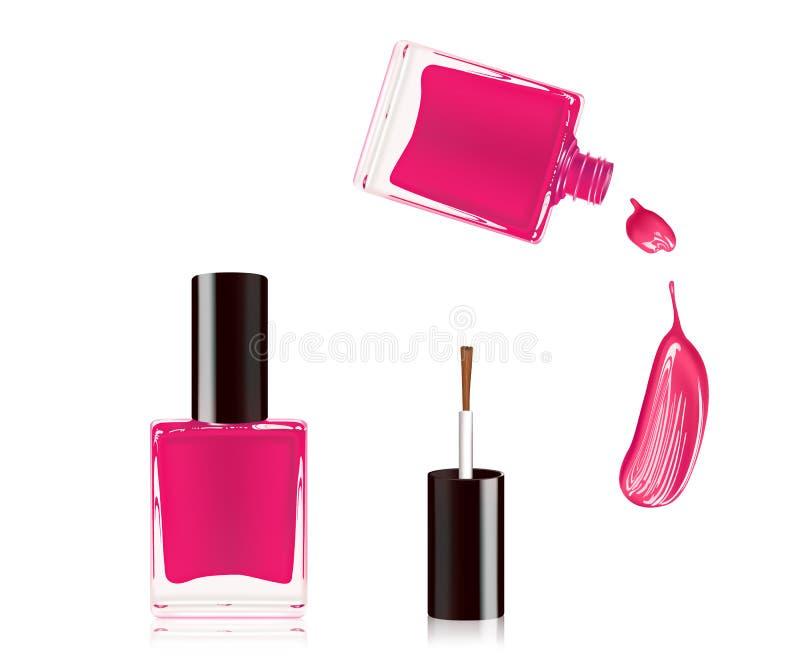 Rosa färger spikar polermedel i flaskan med flasklocket överst och spikar sudddroppe som isoleras på vit bakgrund vektor vektor illustrationer