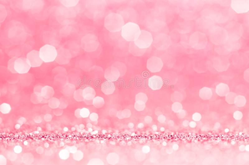 Rosa färger steg, rosa bokeh, abstrakt ljus bakgrund för cirkeln, rosa färg steg glänsande ljus som mousserar blänka valentindage arkivfoto