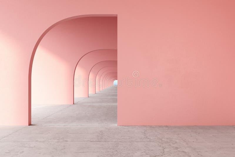 Rosa f?rger steg den arkitektoniska korridoren f?r kvartsf?rg med den tomma v?ggen, det konkreta golvet, horisontlinje royaltyfri bild