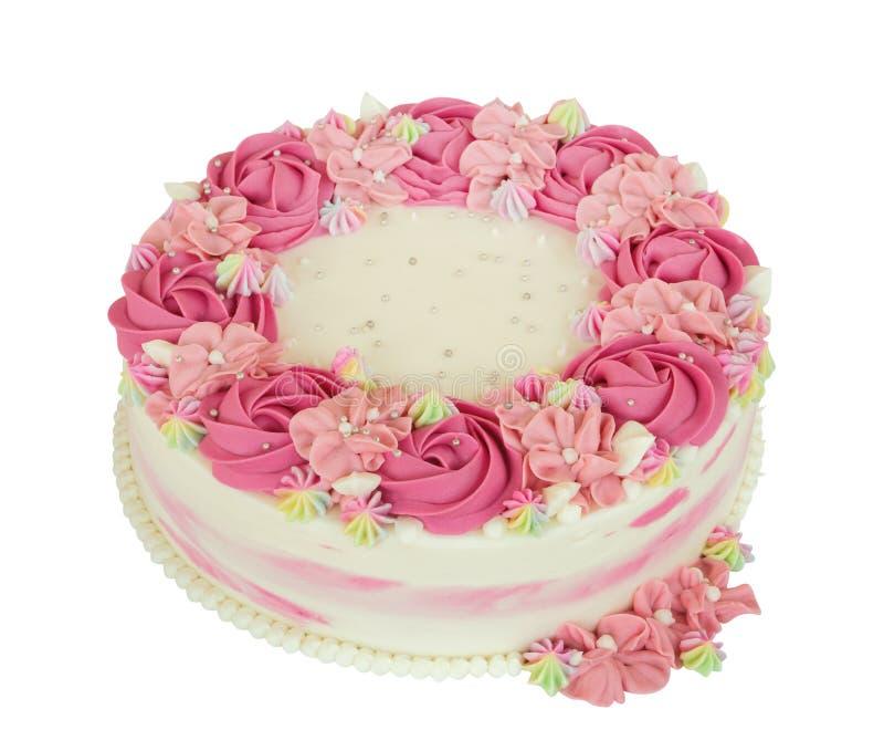 Rosa färger steg kakan för blommakrämfödelsedagen som isolerades på vit bakgrund, bana arkivfoton
