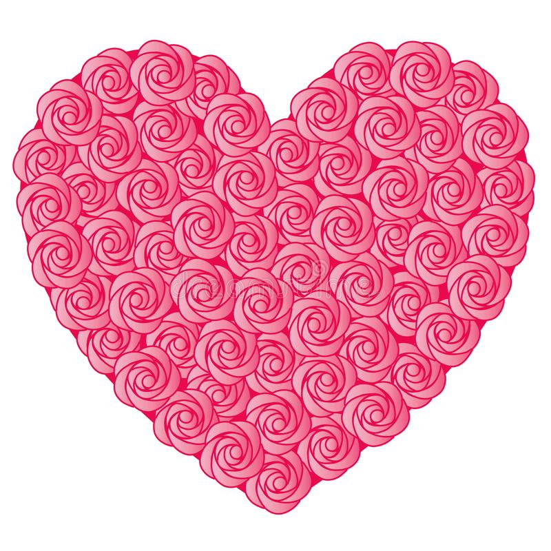 Rosa färger steg valentinhjärta royaltyfri illustrationer