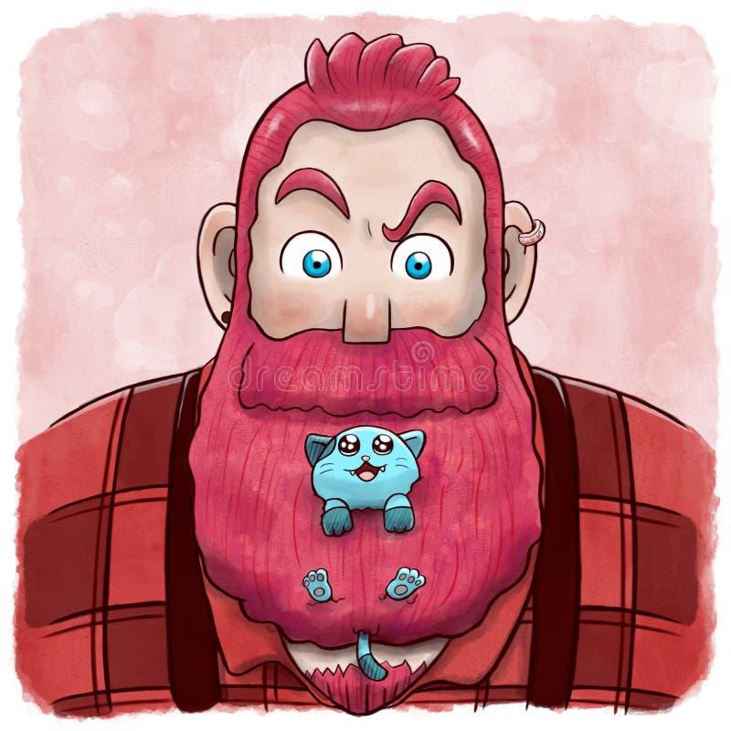 Rosa färger uppsökte mannen med ett kattnederlag i hans skägg stock illustrationer