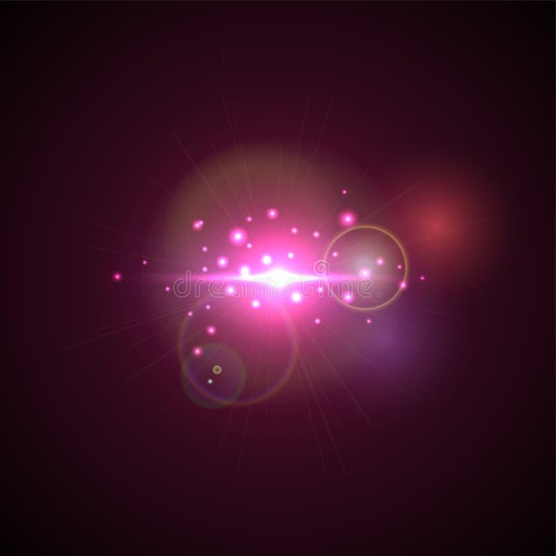 Rosa färgexponering med strålar och strålkastaren Realistisk ljus ilsken blick, högt loth, stjärnaglöd Lens signalljuseffekt på s stock illustrationer