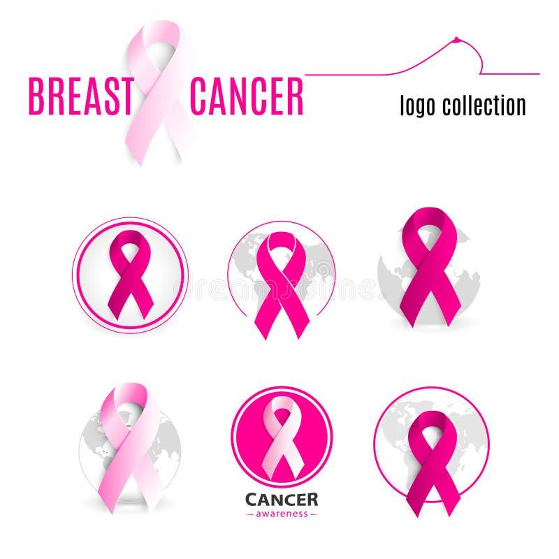 rosa färgfärgband i en cirkellogouppsättning Mot samling för logotyp för rund form för cancer Stoppa sjukdomsymbolet royaltyfri illustrationer