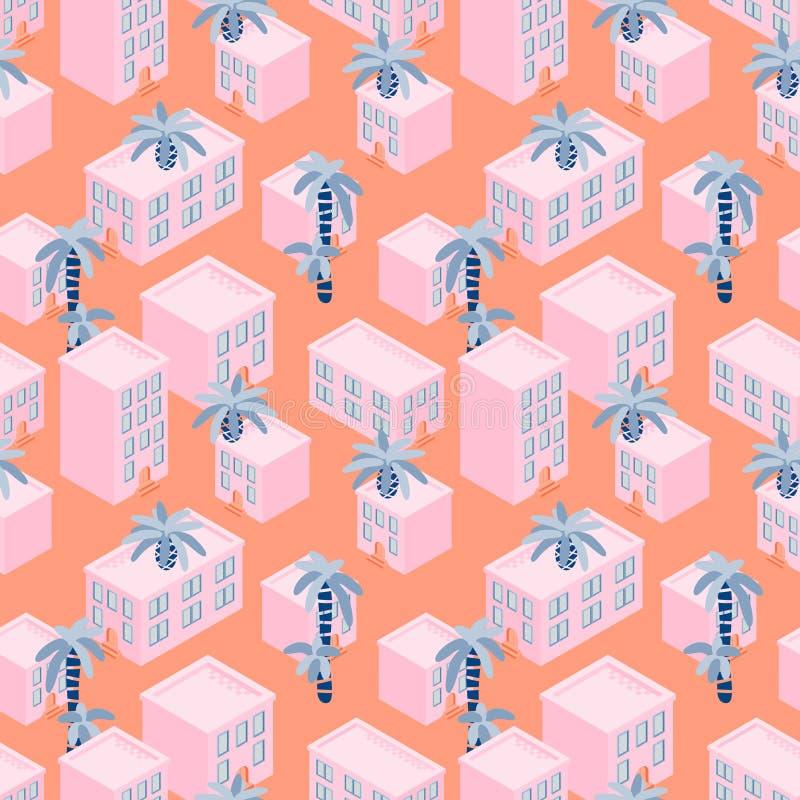 Rosa färghuset blockerar den sömlösa vektormodellen för sjösidan vektor illustrationer