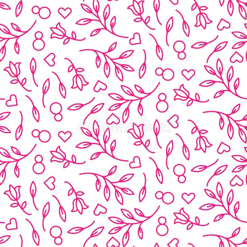 Rosa färglinje sömlös modell för blom- 8 mars vektor illustrationer