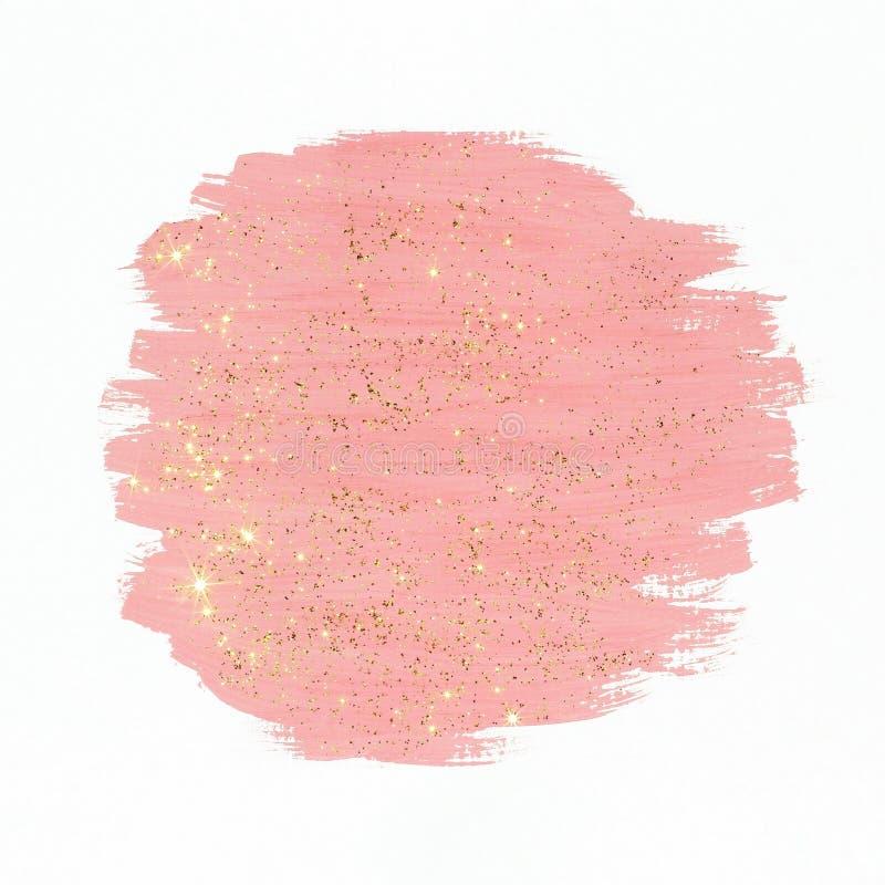 Rosa färgmålarfärg med guld blänker royaltyfri fotografi