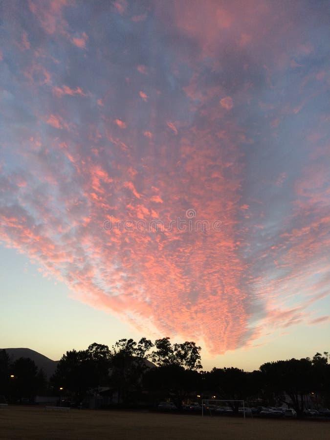 Rosa färgmoln som soluppsättningarna royaltyfri foto