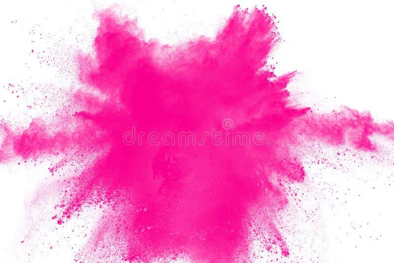Rosa färgpulverexplosion Rosa färgdammfärgstänk royaltyfri fotografi