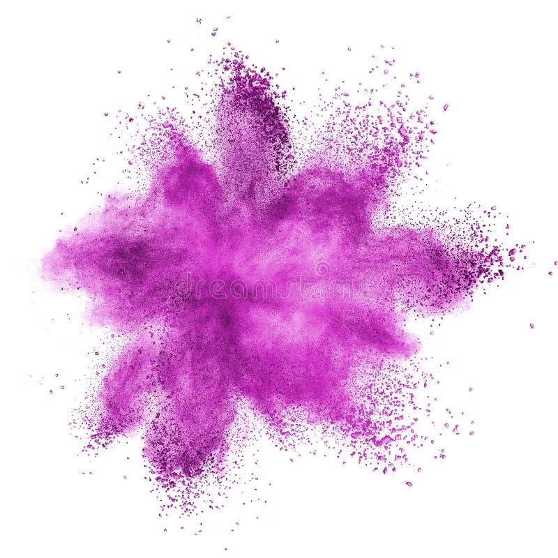 Rosa färgpulverexplosion som isoleras på vit royaltyfri bild