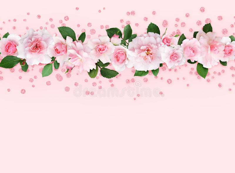 Rosa färgrosblommor och sidor i en bästa gräns med blänker confet stock illustrationer