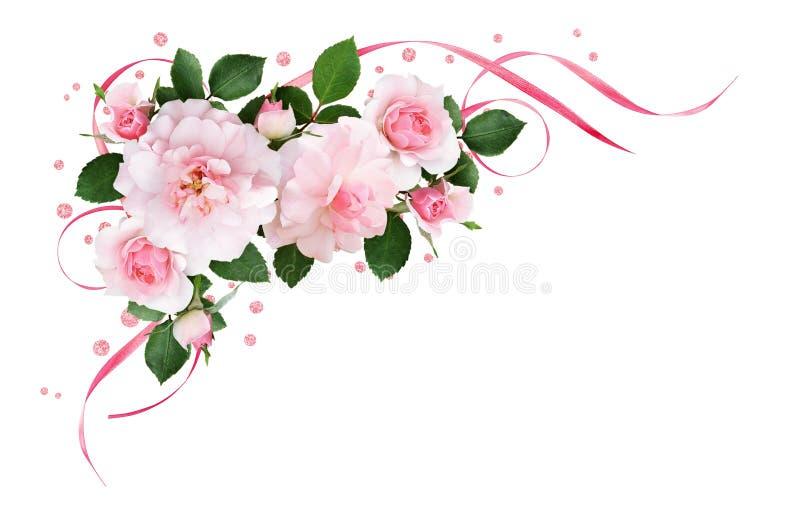 Rosa färgrosen blommar, satängband och blänker konfettier i en flora stock illustrationer