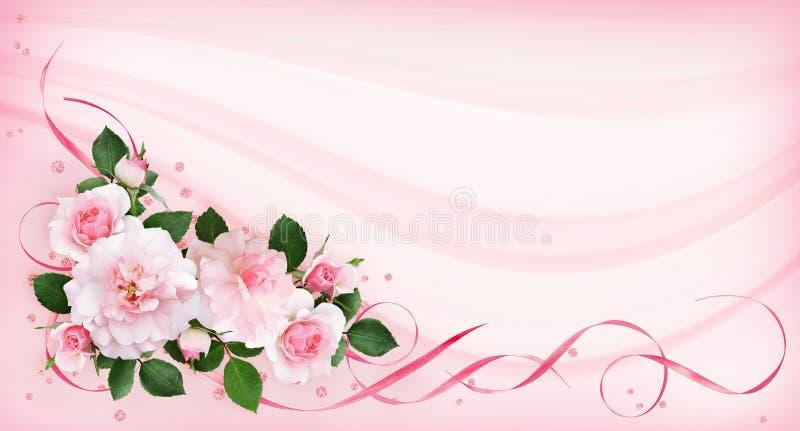 Rosa färgrosen blommar, satängband och blänker konfettier i en flora vektor illustrationer