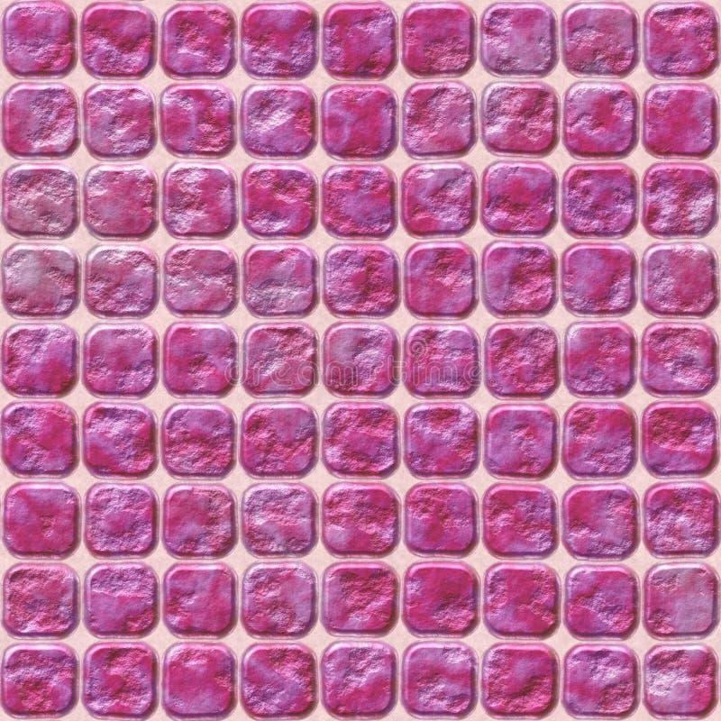 Rosa färgstenen belägger med tegel sömlös modelltextur för mosaik royaltyfri illustrationer