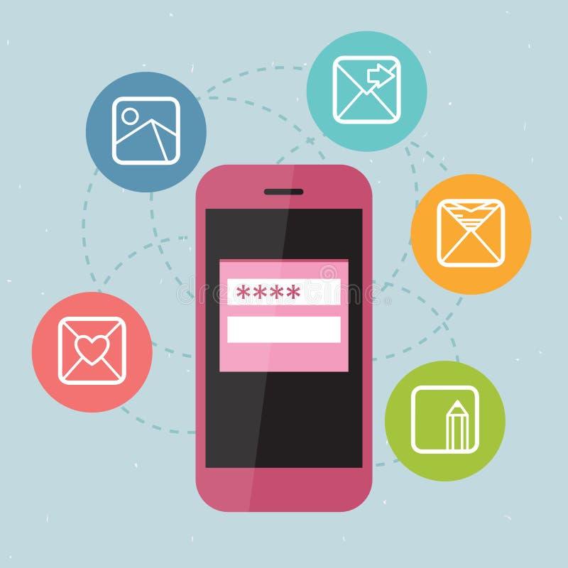 Rosa färgtelefon med symboler stock illustrationer