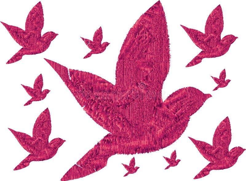 rosa fåglar 3D flyga tillsammans stock illustrationer
