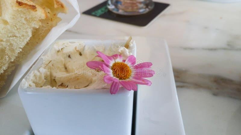 Rosa f?r blomma rostad h?rlig och vit upps?ttning i buttery spridning & arkivbild