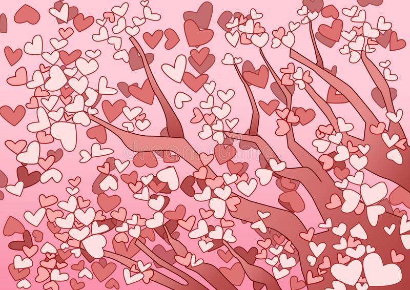 Rosa f?rger f?r designtr?dhj?rta p? rosa bakgrund stock illustrationer
