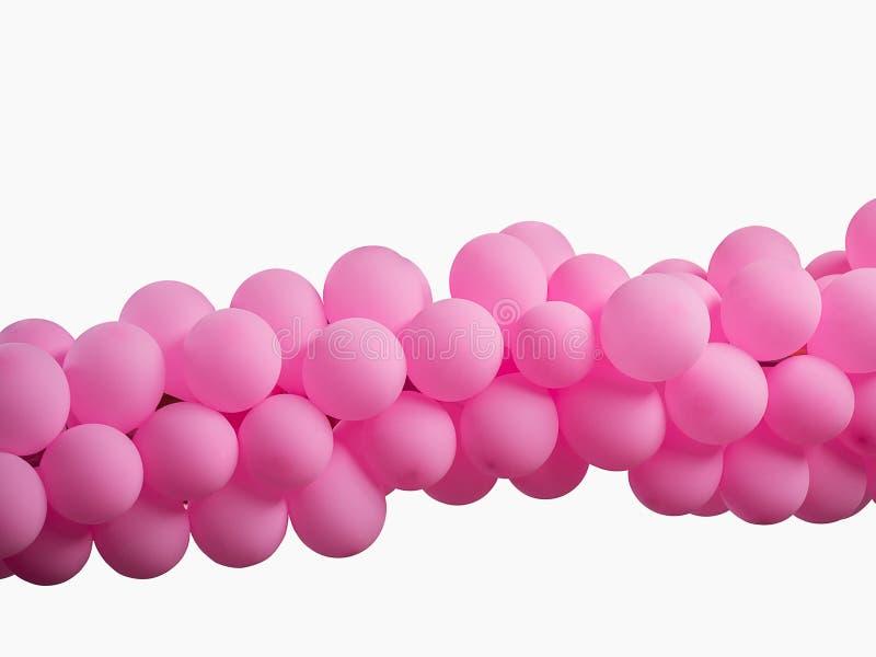 Rosa Farbe verzierte Ballone in Folge über weißem Hintergrund stockfotos