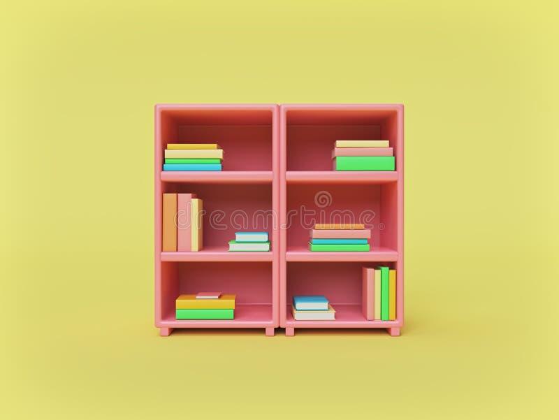 Rosa farbiges Buchpastellregal mit bunten Büchern minimales Ausbildungskonzept Wiedergabe 3d lizenzfreie abbildung