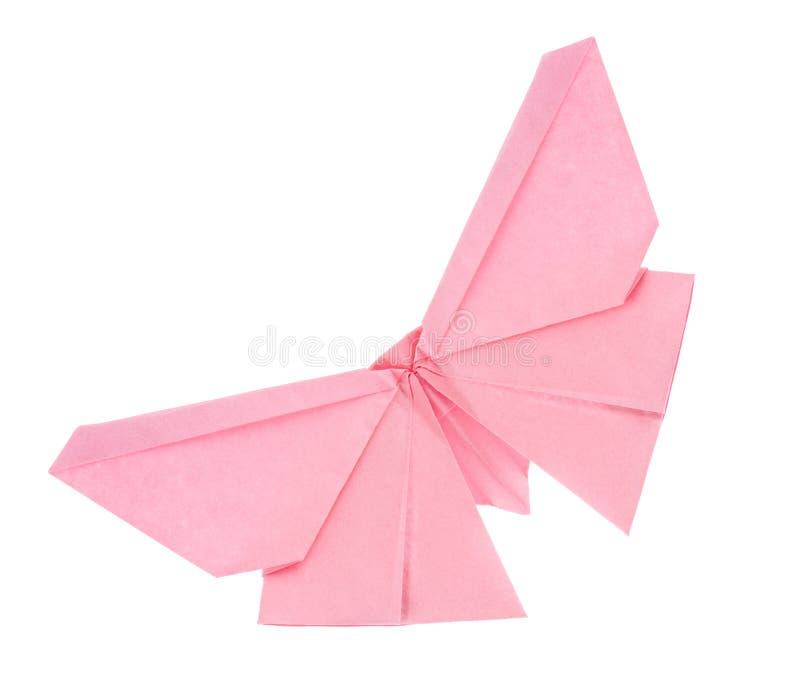 Rosa fjäril av origami fotografering för bildbyråer