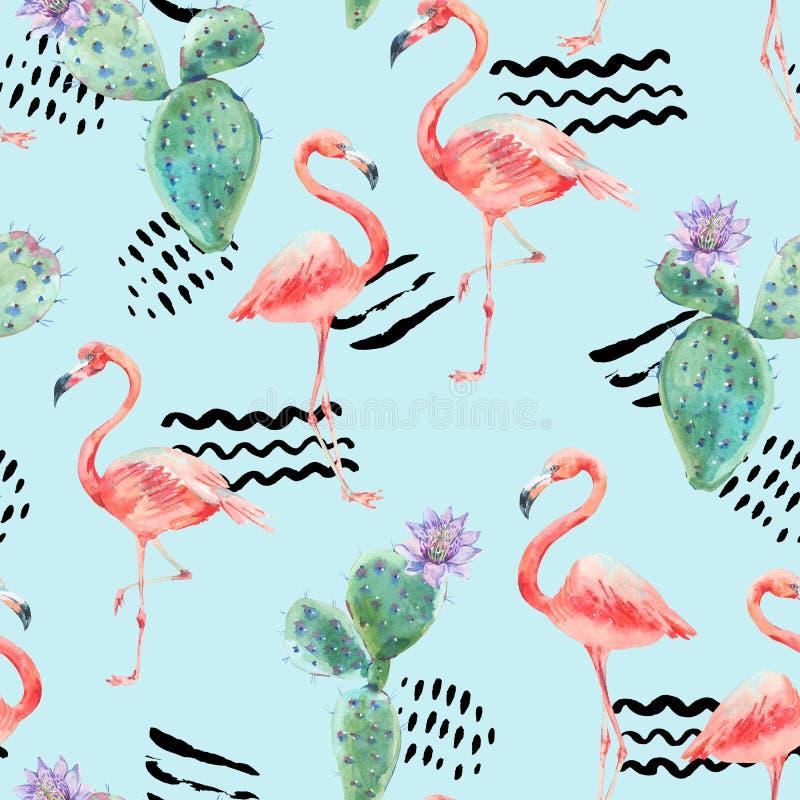 Rosa flamingo för vattenfärg och sömlös modell för tropiska blommor vektor illustrationer