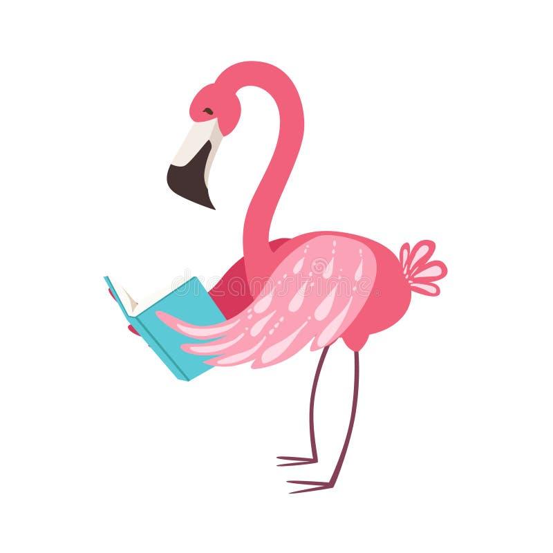 Rosa Flamingo-lächelnde Bücherwurm-Zoo-Charakter-tragende Gläser und ein Buch-Karikatur-Illustrations-Teil Tiere herein lesen vektor abbildung