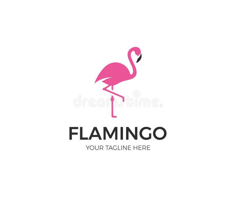 Rosa flamingo Logo Template Fågelvektordesign vektor illustrationer
