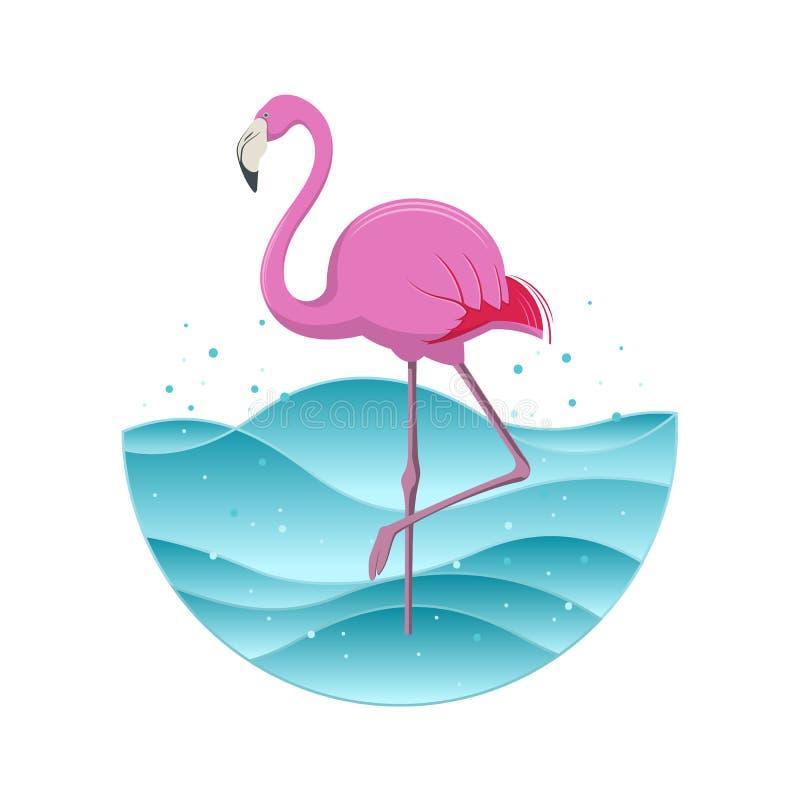 Rosa flamingo på blå bakgrund också vektor för coreldrawillustration royaltyfri illustrationer