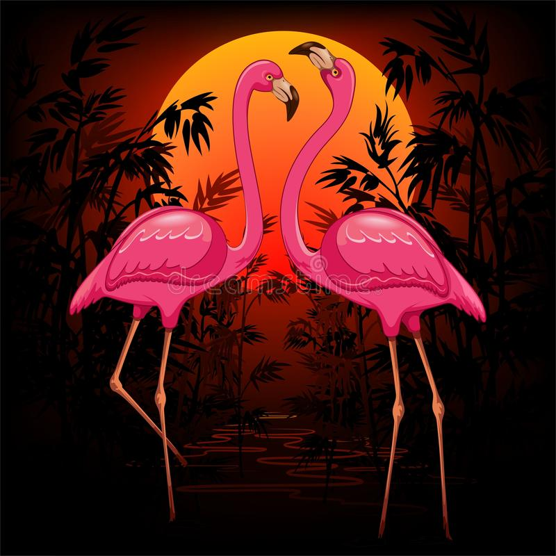 Rosa flamingo på varm tropisk solnedgångvektorillustration royaltyfri illustrationer