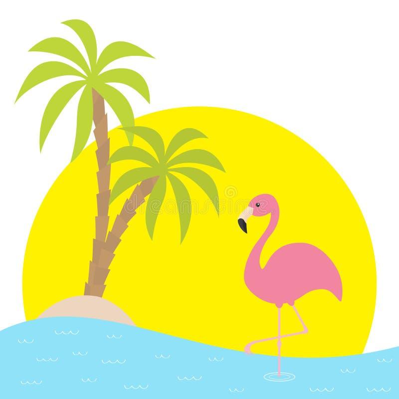 Rosa flamingoanseende på ett ben Två gömma i handflatan trädet, ön, havet, ser vatten, stor solsolnedgång Exotisk tropisk fågel G stock illustrationer