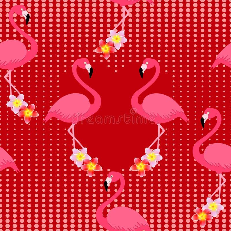 Rosa Flamingos mit Frangipani blüht Plumeria, auf einem roten Hintergrund mit Punkten von Herzen, nahtloses Muster vektor abbildung