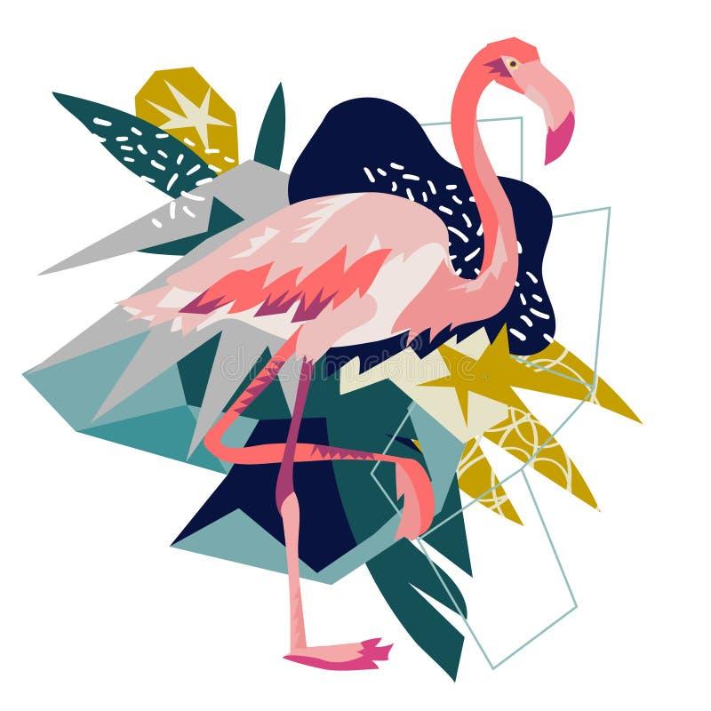 Rosa flamingovektorillustration som isoleras på vit bakgrund royaltyfri illustrationer