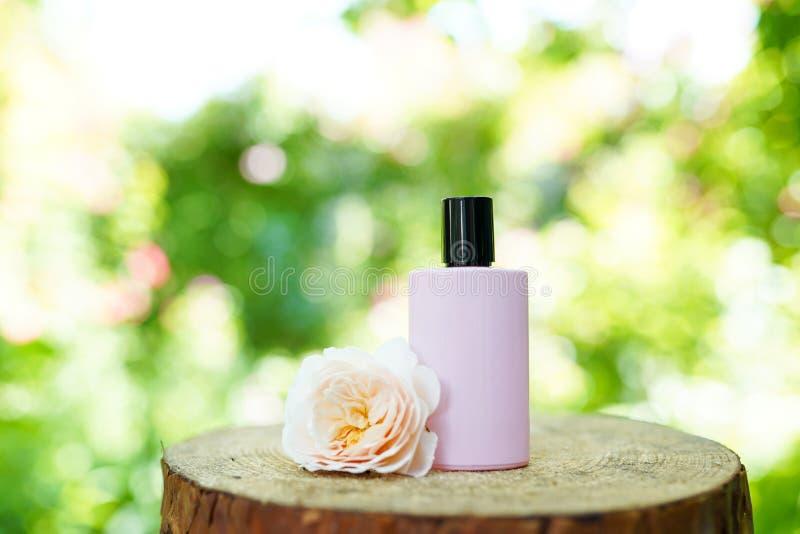 Rosa flaska för doft på naturlig bakgrund, kopieringsutrymme, modell arkivbilder